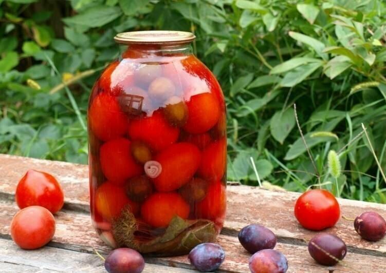 Маринованные томаты со сливой