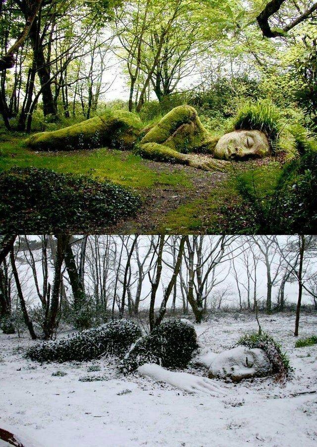 Скульптура в саду Хелигана в Корнуолле. Одежда девушки меняется в зависимости от сезона