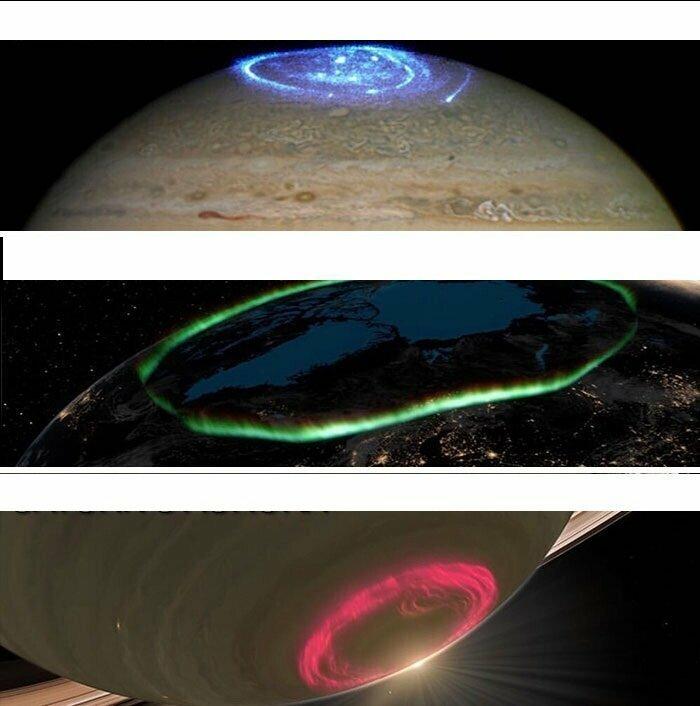 Полярное сияние на разных планетах: Юпитере, Земле и Сатурне