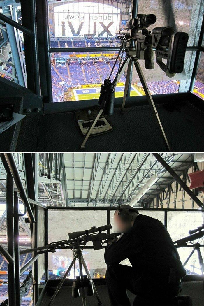 Позиции снайперов службы безопасности на стадионе во время крупных спортивных матчей и концертов