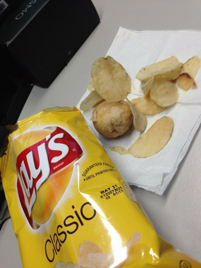При изготовлении чипсов, кто-то бил баклуши
