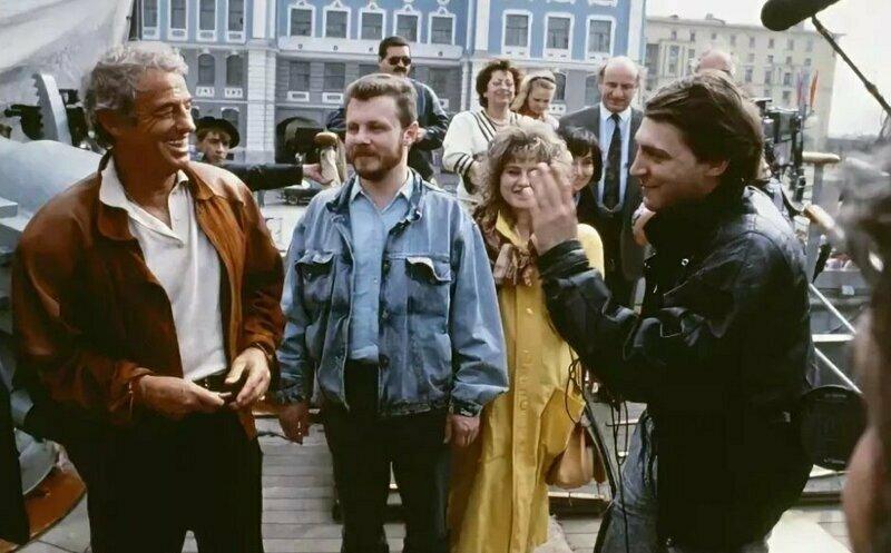 Невзоров освещает в Питере встречу с Жаном-Полем Бельмондо, 1990 год.