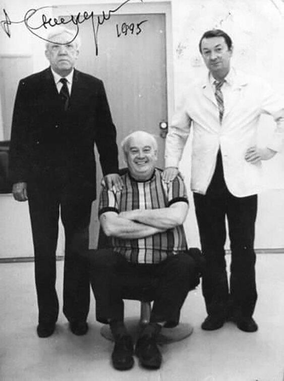 Юрий Никулин, Георгий Вицин и Евгений Моргунов, 1995 год.