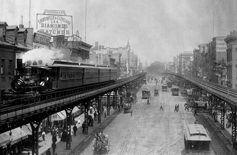 Надземные поезда на оживлённых улицах Манхэттена,1895 год