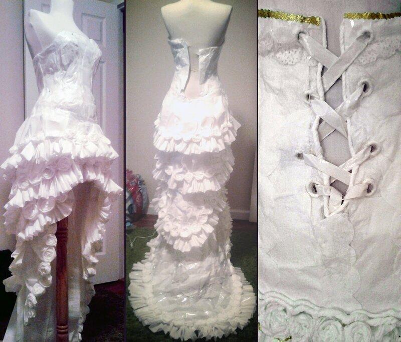 Это свадебное платье из 11 рулонов туалетки