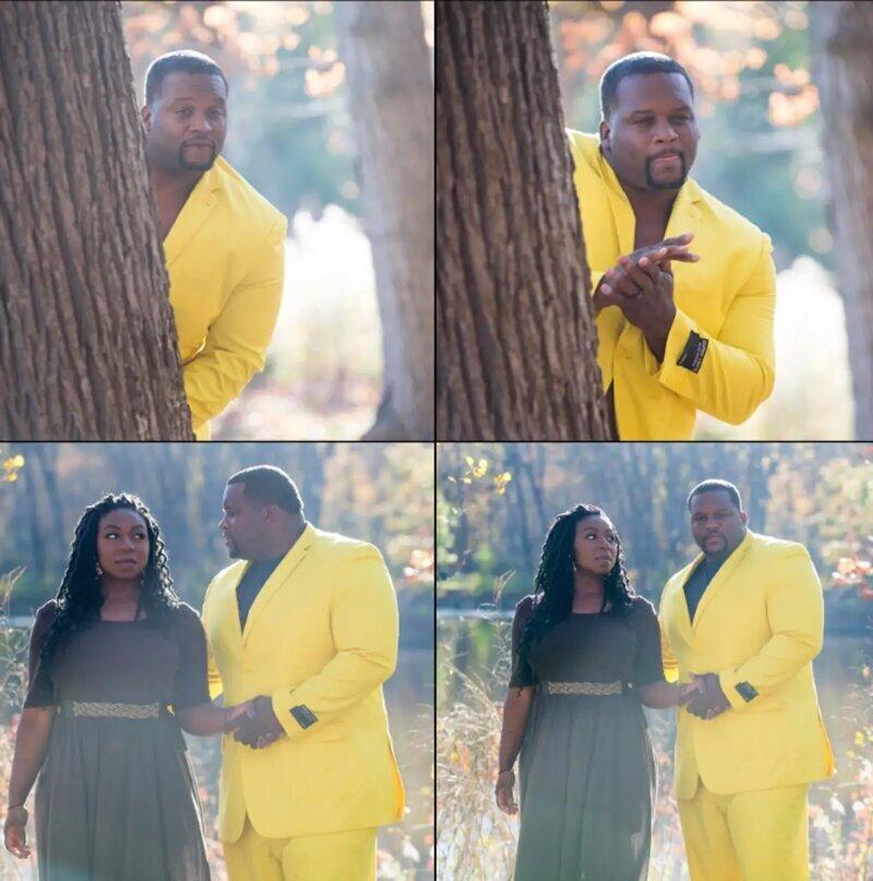Мужик в желтом костюме  иллюстрирует ситуации, в которых кто-то с нетерпением ждет чего-то.