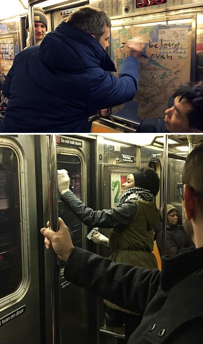 """""""Ехал в метро на Манхэттене. Весь вагон был изрисован свастиками. Один парень сказал, что маркер можно отмыть санитайзером. Все полезли в сумки и начали оттирать фашистскую символику и надписи"""""""