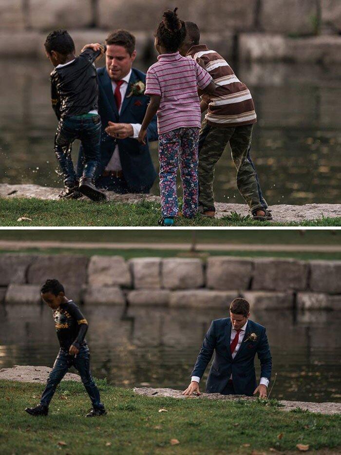 """""""Мужчина фотографировался в день своей свадьбы на берегу канала и вдруг увидел тонущего ребенка"""""""