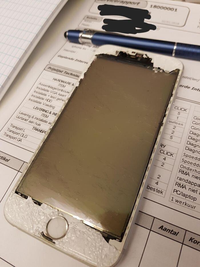 """18. """"Клиент принес iPhone - треснуло стекло и он решил, что нужно его просто снять, чтобы не трещина не мешала"""""""