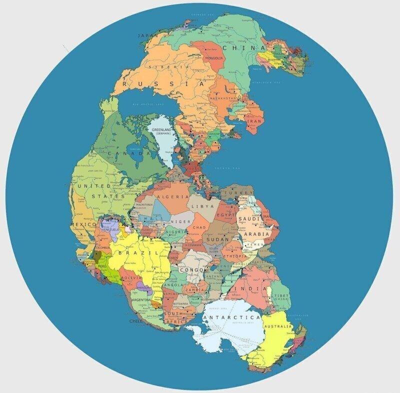 8. Карта древнего сверхконтинента Пангеи, но с современными границами государств