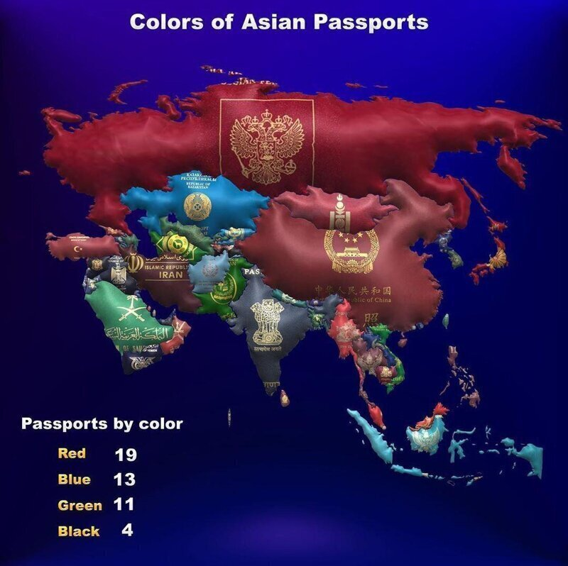 Цвета паспортов стран Азии