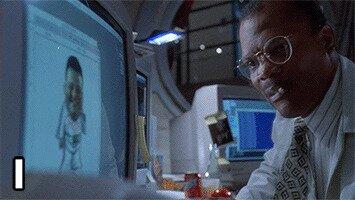 """«Мгновенные взломы систем. Главный герой говорит, что ему нужно попасть в этот компьютер, тут же подбегает хакер и через секунду кричит: """"Я вошёл""""»"""