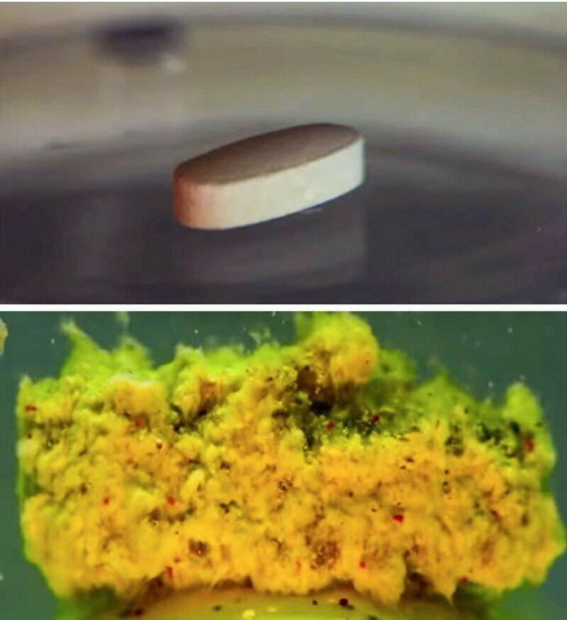 Так выглядит полурастворенная таблетка