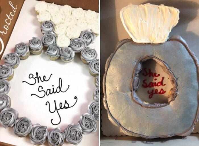 """""""Сестра заказала набор кексов на вечеринку в честь моего обручения. Она отправила в пекарню Walmart ту картинку, что слева. Справа - то, что нам прислали... Похоже на серебряное сиденье для унитаза"""""""