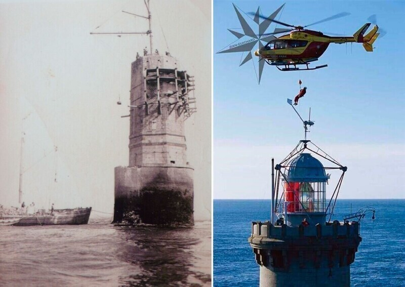 На первом кадре - как строили маяк, а на втором - как туда доставляли смотрителей во второй половине XX века.
