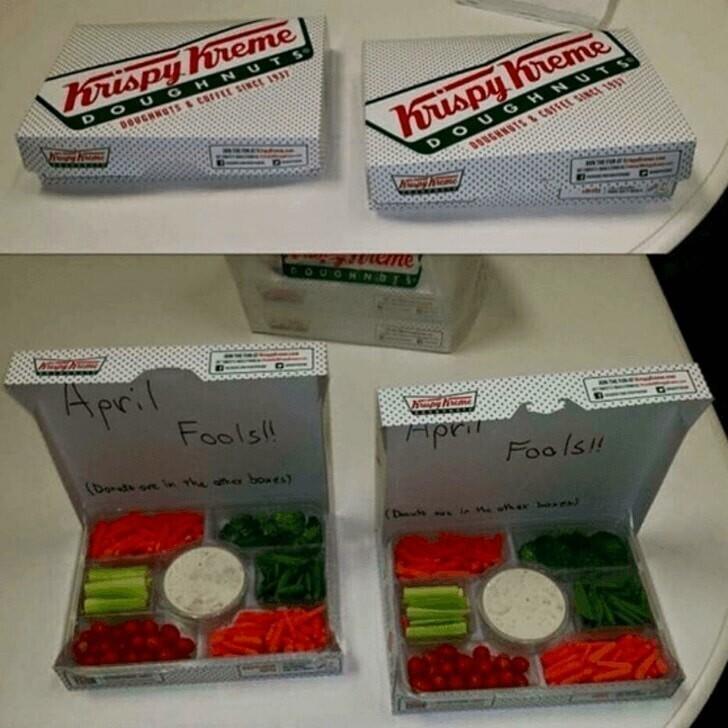 Они думали, что это коробки с пончиками.. а там оказались овощи
