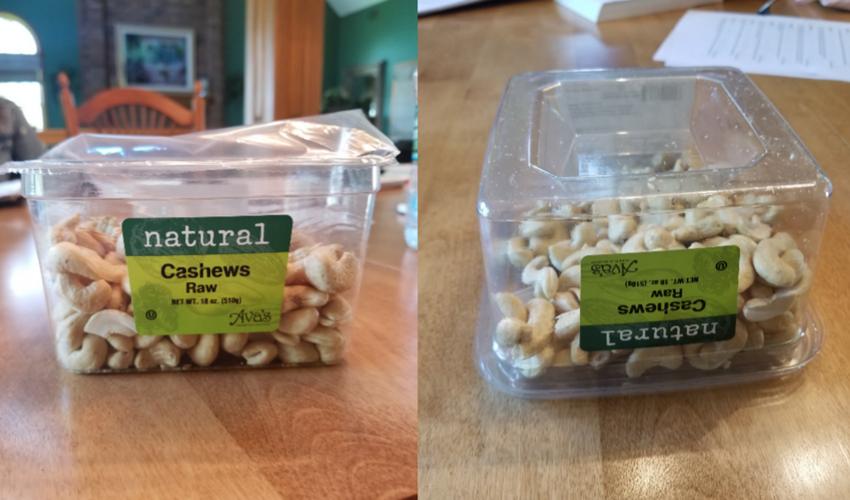 Дно коробки сильно выпуклое, что позволяет значительно уменьшить количество орешков
