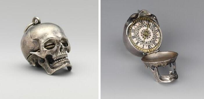 Открывающиеся карманные часы-череп, созданные часовщиком Исааком Пенаром ок. 1650 г.