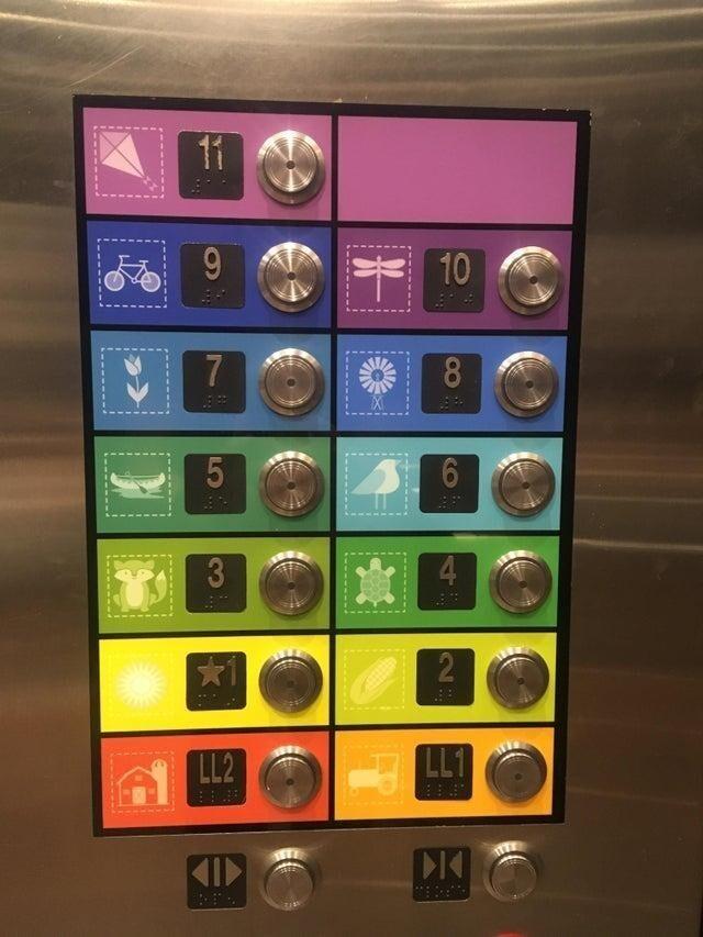 Кнопки лифта в детской больнице