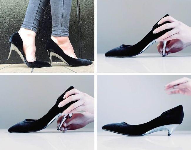В этих туфлях каблук можно уменьшать и увеличивать