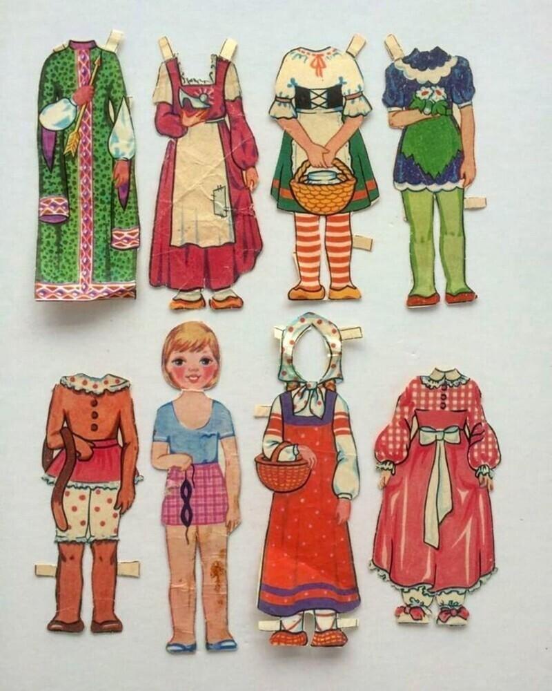 Рисованные куклы-модницы советских девчонок