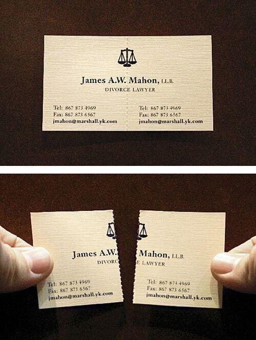 Визитка адвоката по бракоразводным процессам, которая разрывается напополам