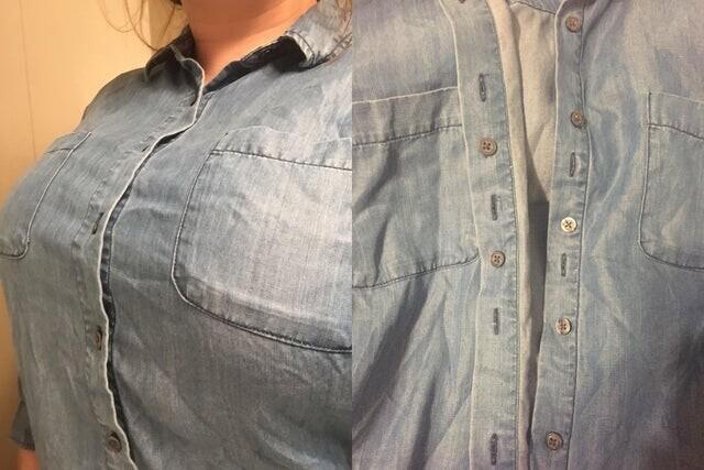 У этой рубашки есть внутренние пуговицы, которые спасают её от расхождения на груди