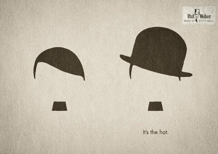 Реклама компании, торгующей шляпами