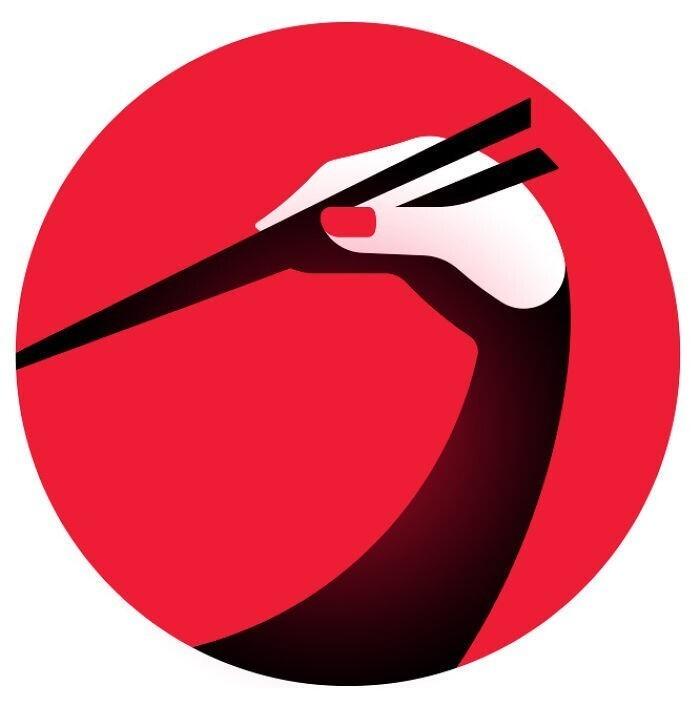От лого японского ресторана невозможно оторвать глаз. Это японский журавль или палочки для еды?
