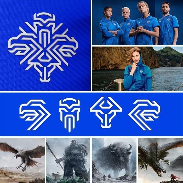На эмблеме олимпийской сборной Исландии - четыре мифологических животных, по преданию, защищающих страну