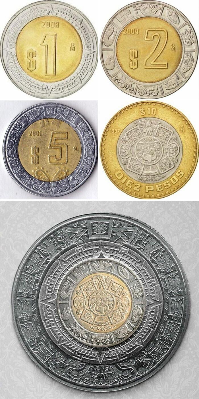 Если сложить в стопку все мексиканские монеты, получится календарь ацтеков