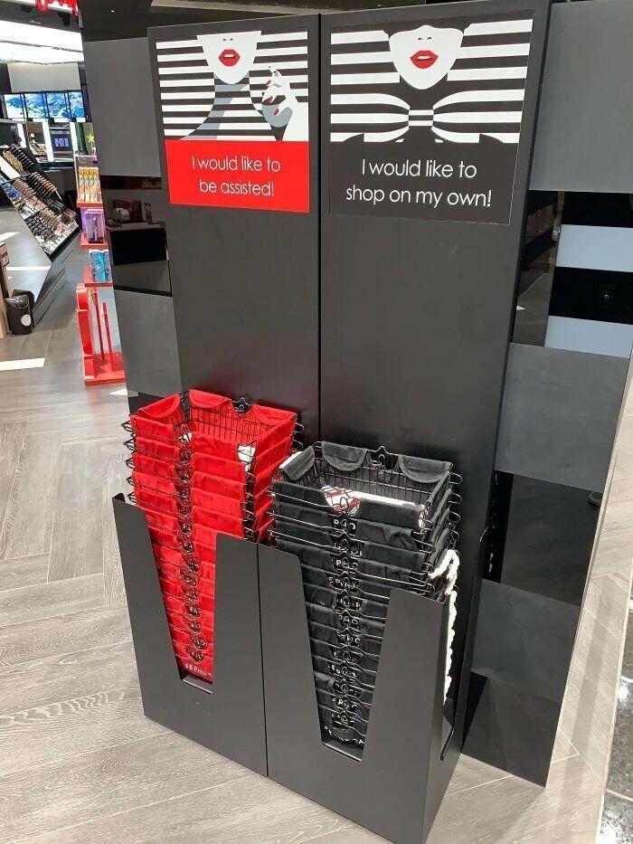 Цвет покупательской корзины сообщит, хочет ли покупатель помощи продавца или предпочтет делать выбор самостоятельно