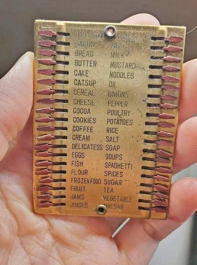 Старинный список покупок из металла