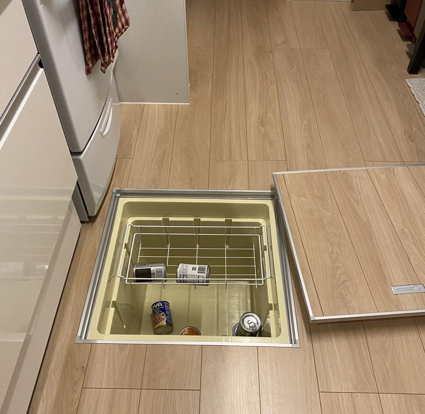 Небольшой холодильник встроенный в пол
