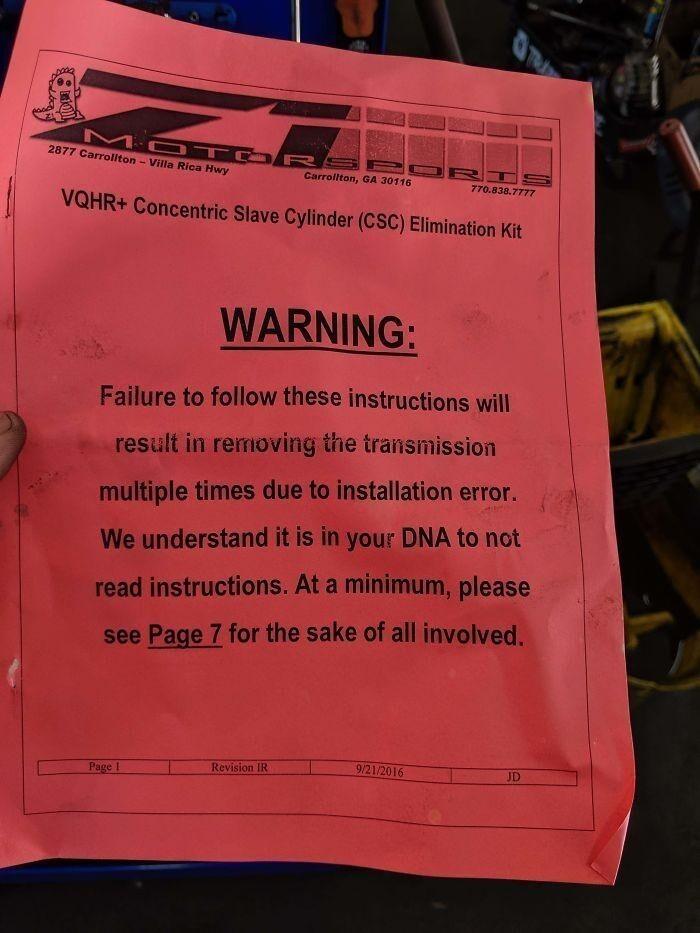 34. Из инструкции к подъемнику: «Мы понимаем, что не читать инструкции заложено у вас в ДНК. Во благо всех участников, прочитайте хотя бы страницу 7».