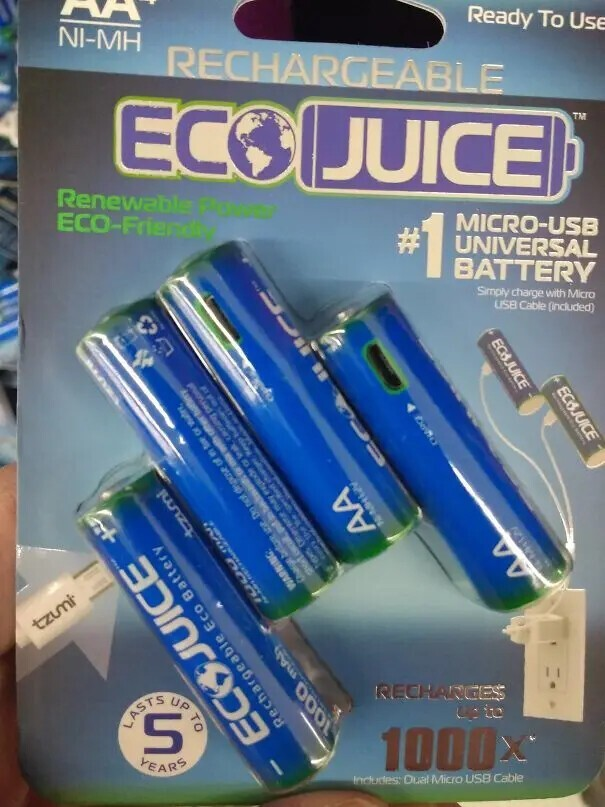 Батарейки, которые можно заряжать от USB.