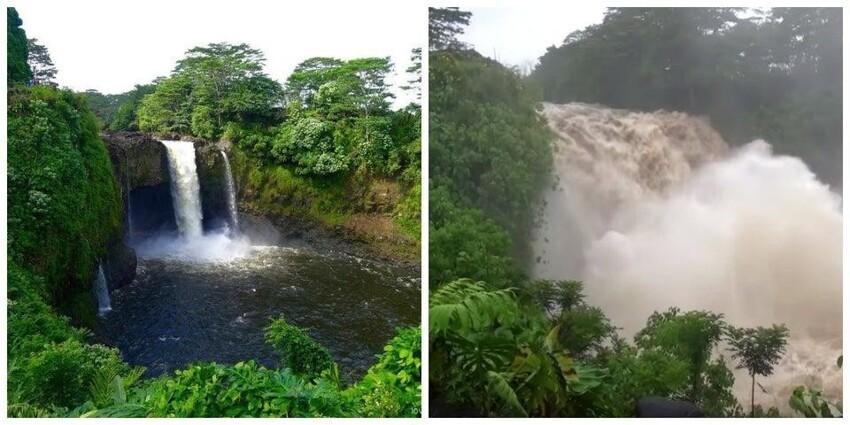 Водопад в нормальных условиях, и во время урагана