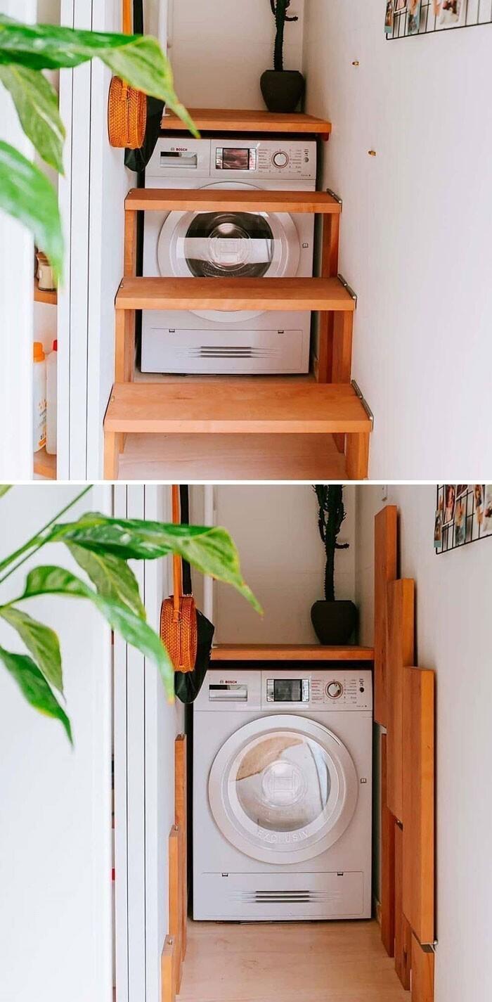 2. Складная лестница с доступом к стиральной машине