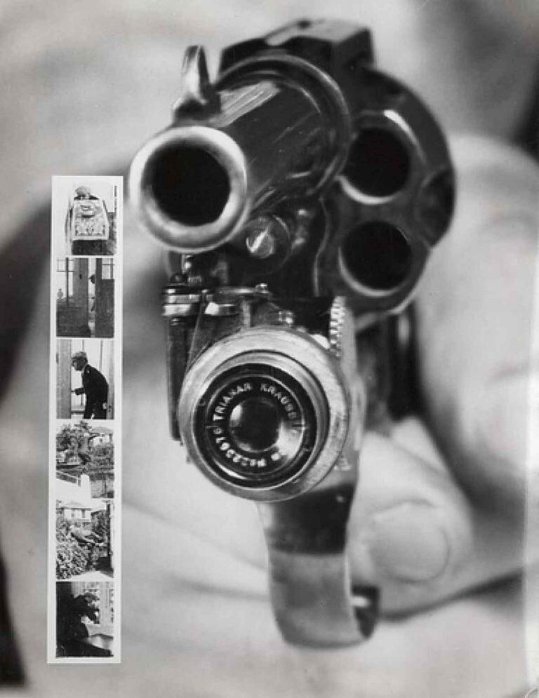 Камера в револьвере, 1938 год, Нью-Йорк. Практически будущие смартфоны, только пуля мешает (съемка происходила вместе с выстрелом), особенно если делать селфи...