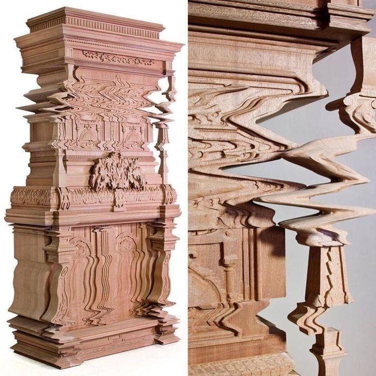 Мебель, вырезанная особым образом, для создания эффекта цифрового глюка