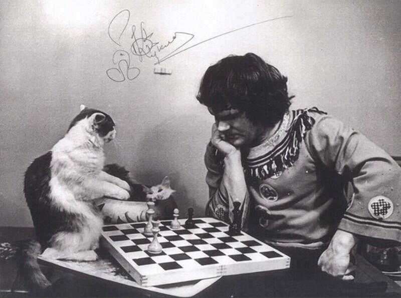 Юрий Куклачёв играет в шахматы с котом. 1980-е.
