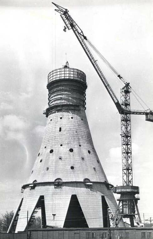 Строительство Останкинской телебашни, Москва, 1960-е.