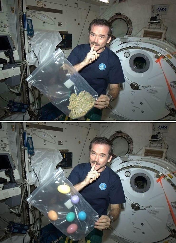 Космонавт Крис Хэдфилд с марихуаной - конечно это подделка - на самом деле он приготовил сюрприз - пасхальные яйца