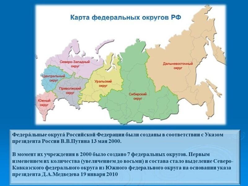 В России созданы федеральные округа и институт полномочных представителей Президента РФ в них