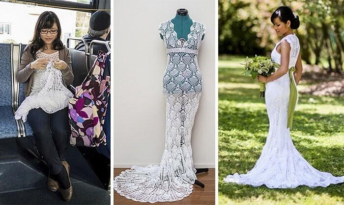 """""""Связала кружевное свадебное платье в автобусе по дороге на работу. На создание этой красоты ушло 5 месяцев и менее 30 долларов"""""""