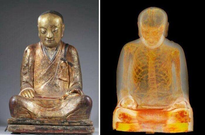 Мумифицированный монах внутри 1000-летней скульптуры Будды, обнаружен при помощи КТ-сканирования