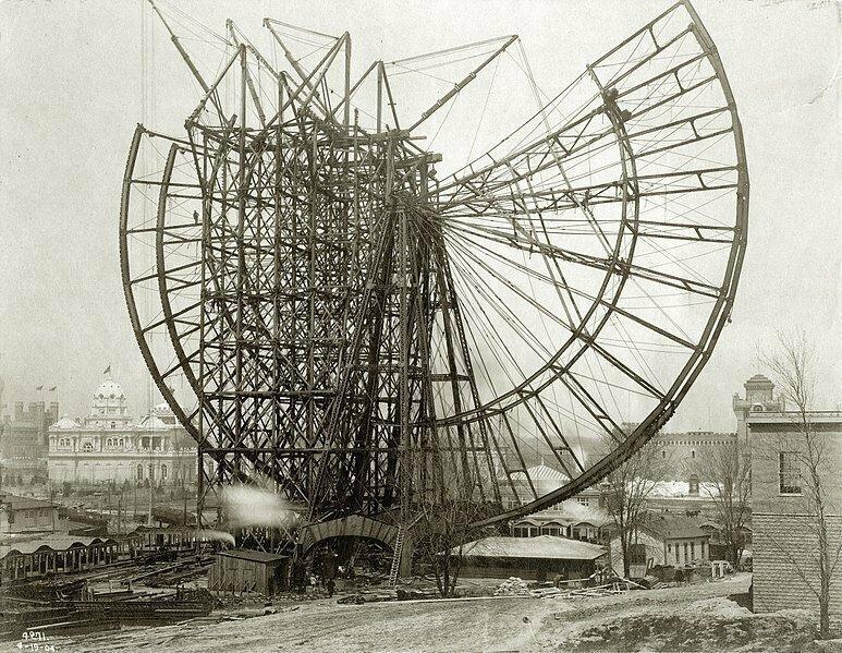 Строительство одного из первых колес обозрения мира. 1904 год, Сент-Луис, США