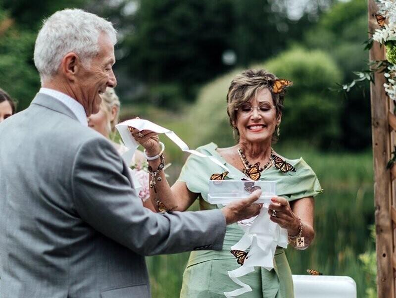 Бабочки, которых выпустили на свадебной церемонии, в память о погибшей родственнице, не улетели
