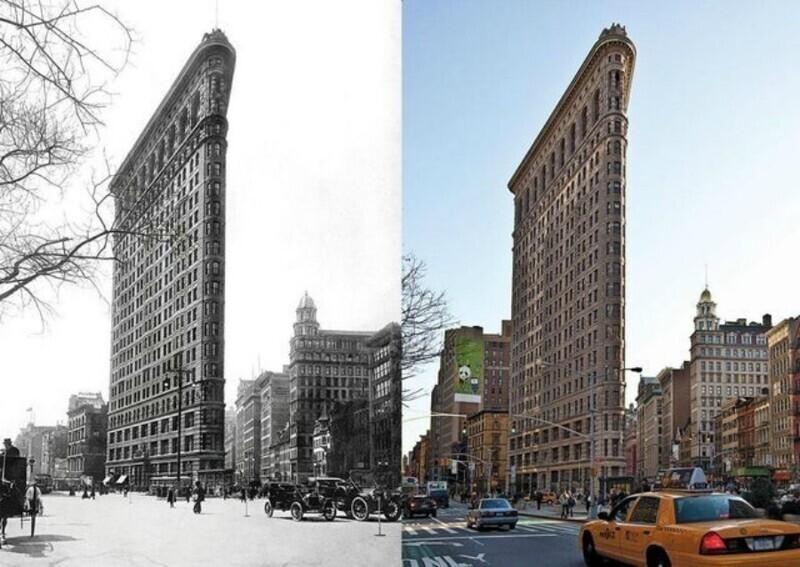 Флэтайрон-билдинг, Нью-Йорк, 1917 и 2012