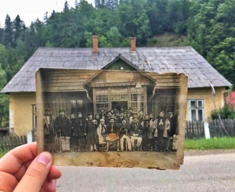 Деревенская ратуша в Румынии, фотография 1940-х годов в современности